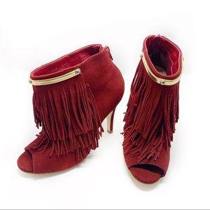 Andrea Suede Fringe Peep Toe High Heels Size 6